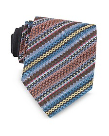 Blue and Brown Diagonal Stripe and Geometric Woven Silk Tie - Missoni