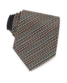 Diagonal Stripe and Zig Zag Woven Silk Tie - Missoni