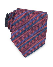 Red and Purple Diagonal Stripe Woven Silk Tie - Missoni