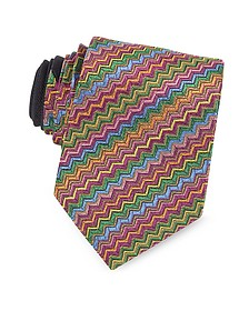 Diagonal Zig Zag Woven Silk Narrow Tie - Missoni