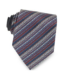 Blue and Red Diagonal Stripe Woven Silk Tie - Missoni