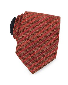 Red and Orange Signature Diagonal Stripe Woven Silk Narrow Tie - Missoni