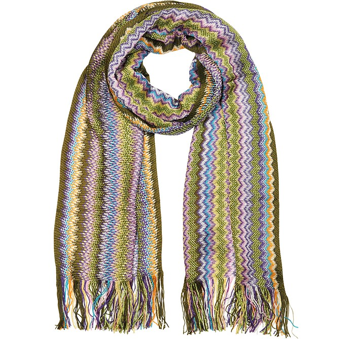 Viscose and Lurex Zig Zag Long Scarf - Missoni