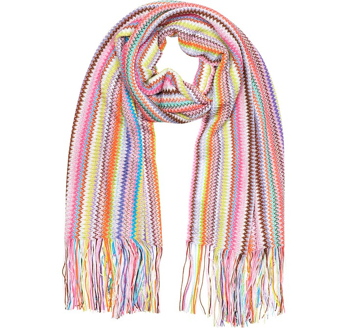 Multicolor Viscose Zig Zag Long Scarf - Missoni