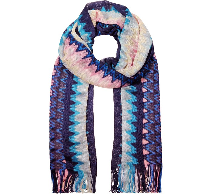 Midnight Blue Viscose and Lurex Zig Zag Long Scarf - Missoni