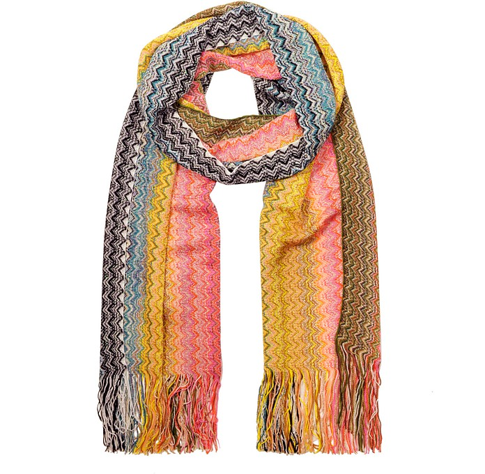 Zig Zag Pattern Viscose and Lurex Long Scarf - Missoni