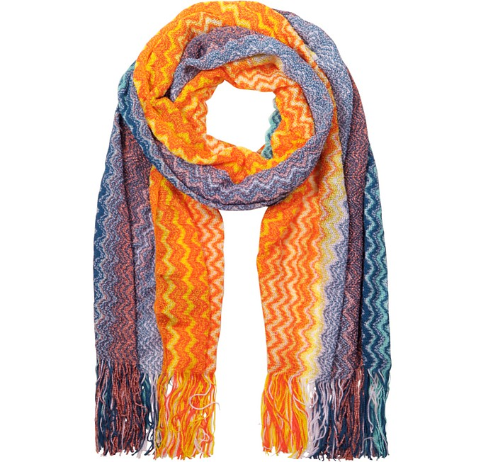Zig Zag Pattern Orange & Blue Viscose Long Scarf - Missoni