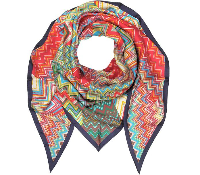 Multicolor Printed Pure Silk Triangle Scarf - Missoni
