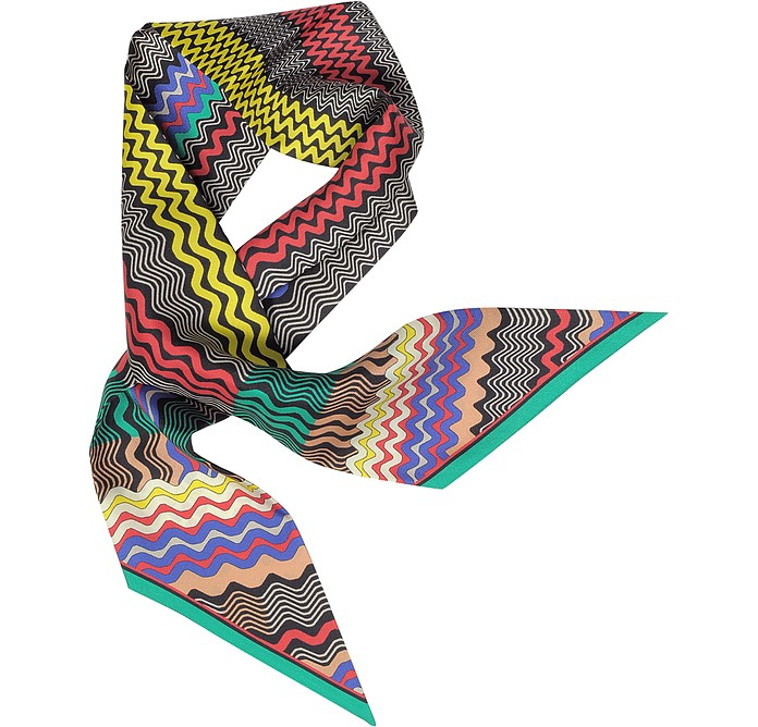 Digital Waves Printed Silk Necktie Scarf - Missoni