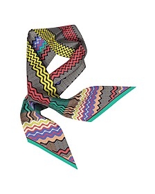 Digital Waves Printed Silk Necktie Scarf - Missoni