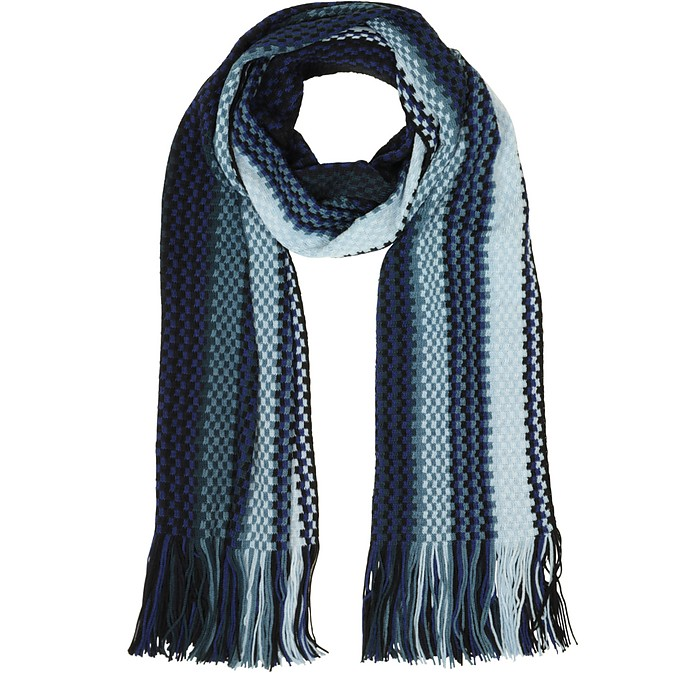Plaid Wool Blend Fringed Long Scarf - Missoni