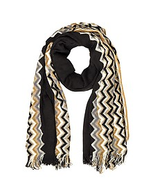 Zig Zag Wool Blend and Lurex Women's Long Scarf  - Missoni