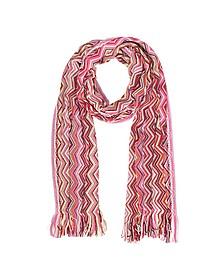 Pink Zig Zag Wool Blend and Lurex Women's Long Scarf  - Missoni