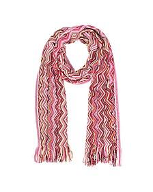 Pink Zig Zag Wool Blend and Lurex Women's Long Scarf  - Missoni / ミッソーニ