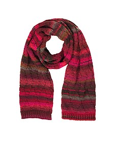 Pink and Red Stripes Wool Blend Women's Long Scarf - Missoni