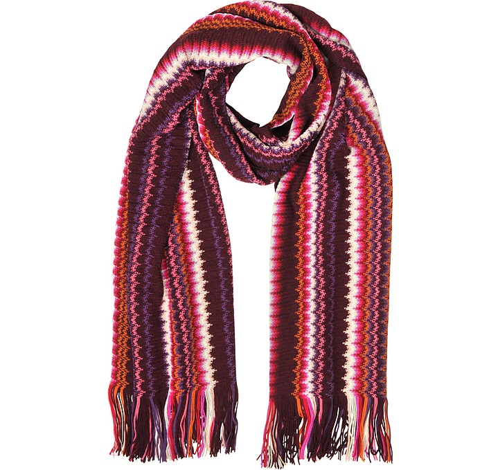 Pink and Purple Waves Wool Blend Women's Long Scarf - Missoni