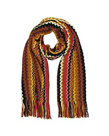 Brown and Yellow Zig Zag Wool Blend Men's Long Scarf - Missoni