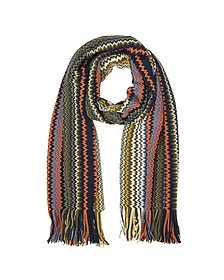 Khaki and Orange Zig Zag Wool Blend Men's Long Scarf - Missoni