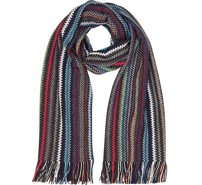 Black/Multicolor Zig Zag Acrylic and Wool Lurex Fringed Women's Long Scarf - Missoni