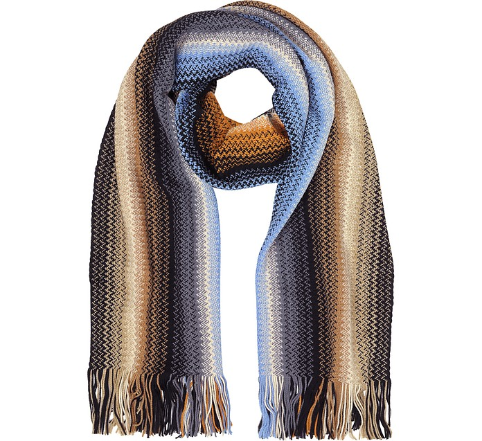 ccf53d114 Missoni Blue/Brown Zig Zag Wool Blend Fringed Women's Long Scarf at ...