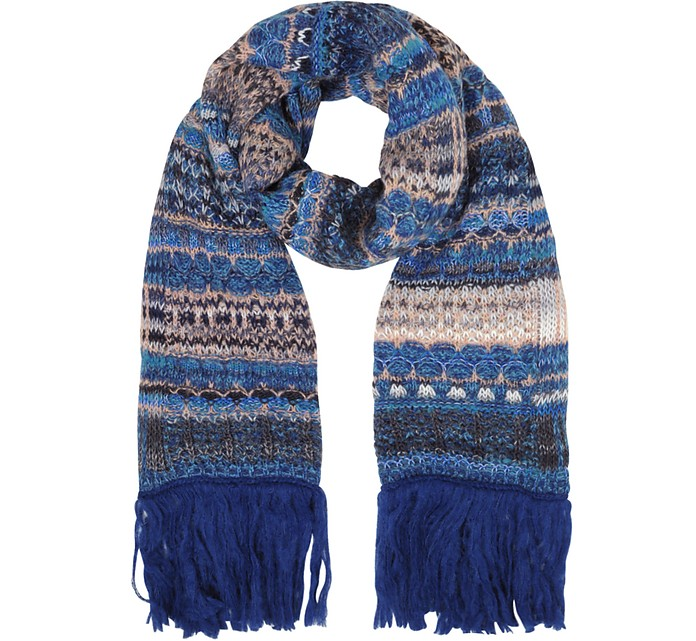 Wool Blend Knit Women's Long Scarf w/Maxi Fringes - Missoni