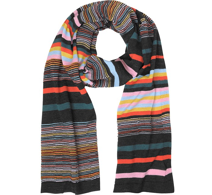 Striped Wool Blend Men's Long Scarf - Missoni