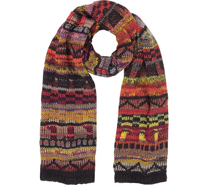 Wool Blend Knit Men's Long Scarf - Missoni