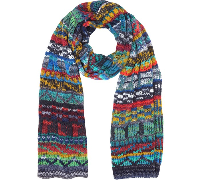 Wool Blend Knit Men's Long Scarf - Missoni