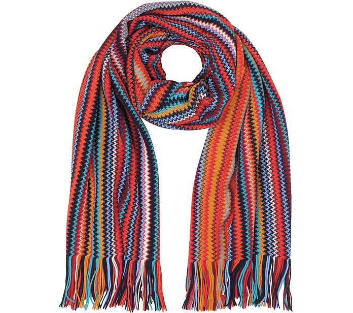 Red/Multicolor Wool Blend Fringed Men's Long Scarf - Missoni