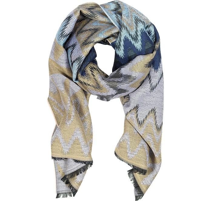Mauve, Beige and Blue Wool Long Scarf - Missoni