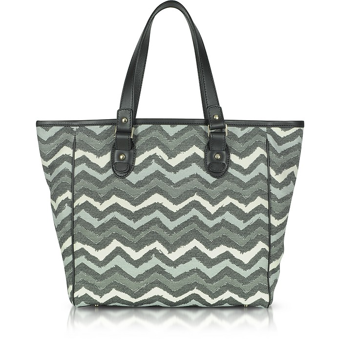 02a17a9657a8 Missoni Black Jacquard Fabric and Leather Tote Bag at FORZIERI