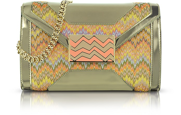 Metallic Fabric and Leather Shoulder Bag - Missoni