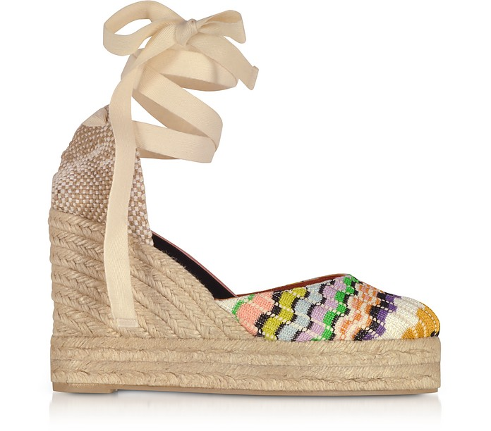 X Castañer - Carina Multicolor Canvas Wedge Espadrilles - Missoni