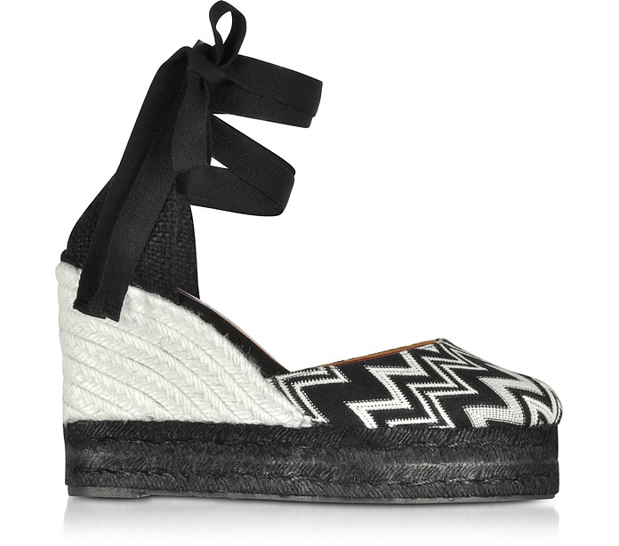 X Castañer - Carina Black & White Canvas Wedge Espadrilles - Missoni