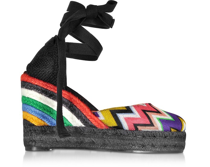 X Castañer - Carina Multicolor Canvas and Black Jute Wedge Espadrilles - Missoni / ミッソーニ