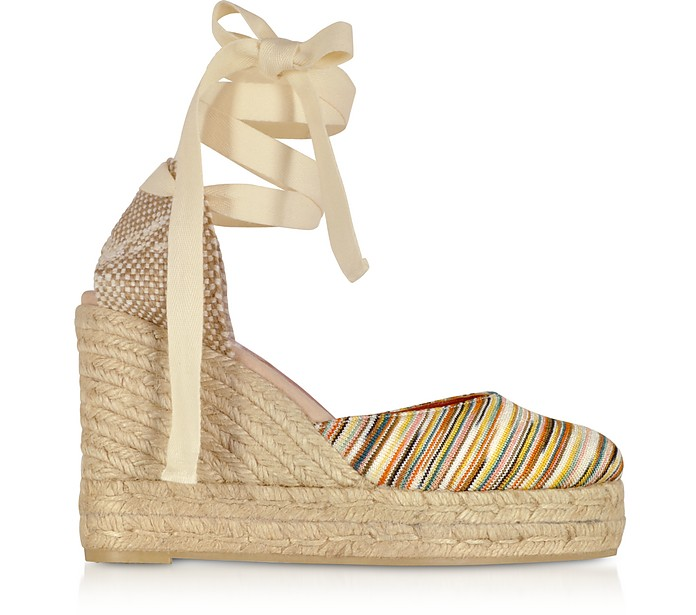 X Castañer - Carina Multicolor Canvas and Jute Wedge Espadrillas - Missoni