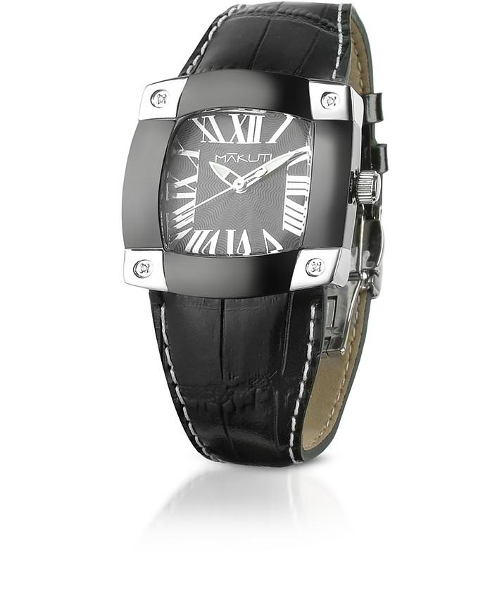 Taj-Me - Women's Black Leather Croco Strap Diamond Watch - Makuti