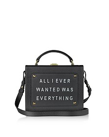 Black Leather Art Bag w/Front Text Floater - Meli Melo