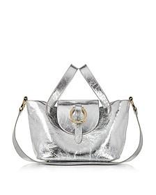 Rose Thela Silver Metallic Nappa Leather Mini Crossbody Bag - Meli Melo