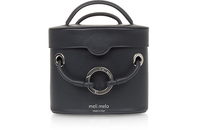 Nancy Black Leather Cylindrical Bag - Meli Melo