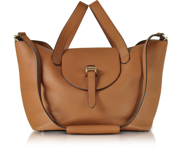 Tan Coimbra Leather Thela Medium Tote Bag - Meli Melo