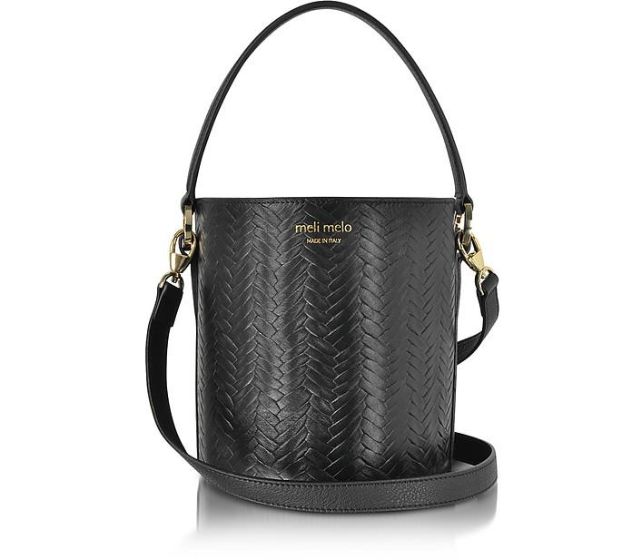 Black Woven Leather Santina Mini Bucket Bag  - Meli Melo