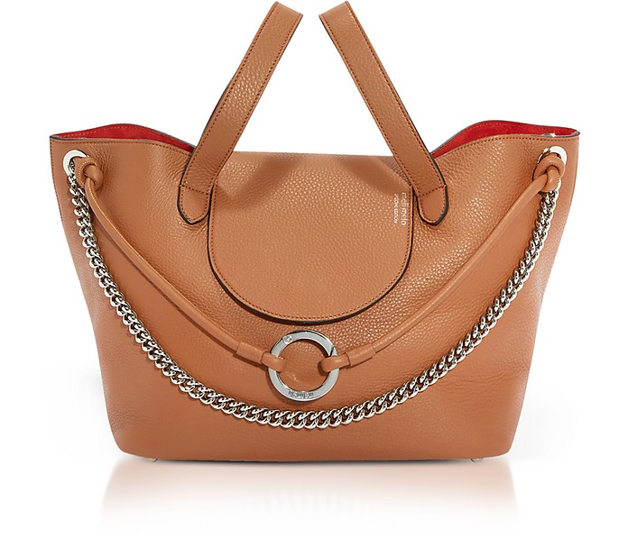Tan Leather Linked Thela Medium Tote Bag - Meli Melo