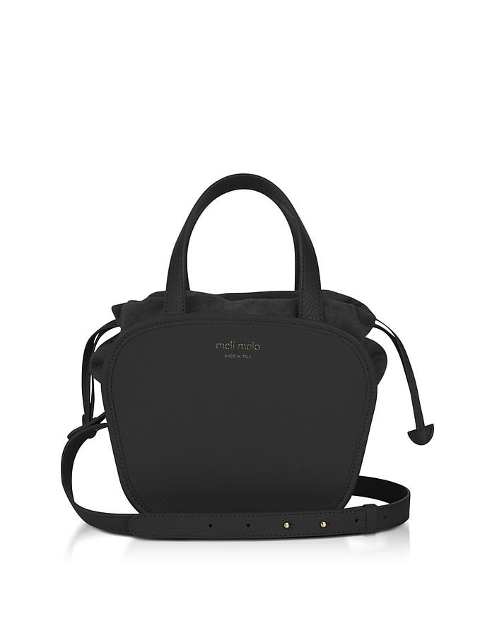 Rosetta Black Leather Crossbody Bag - Meli Melo