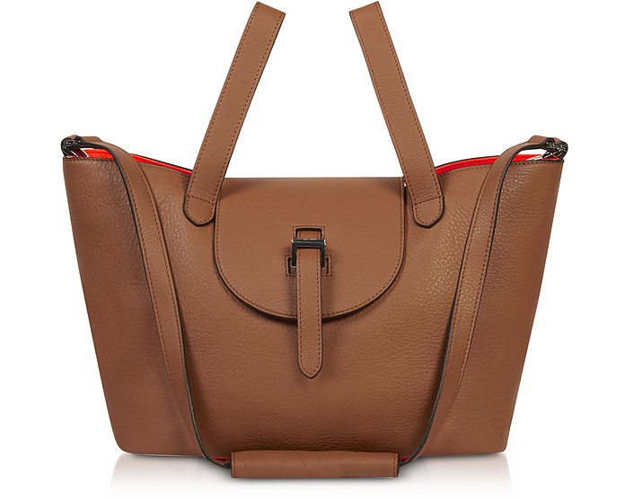 Tan & Neon Orange Thela Medium Tote Bag - Meli Melo / メリメロ