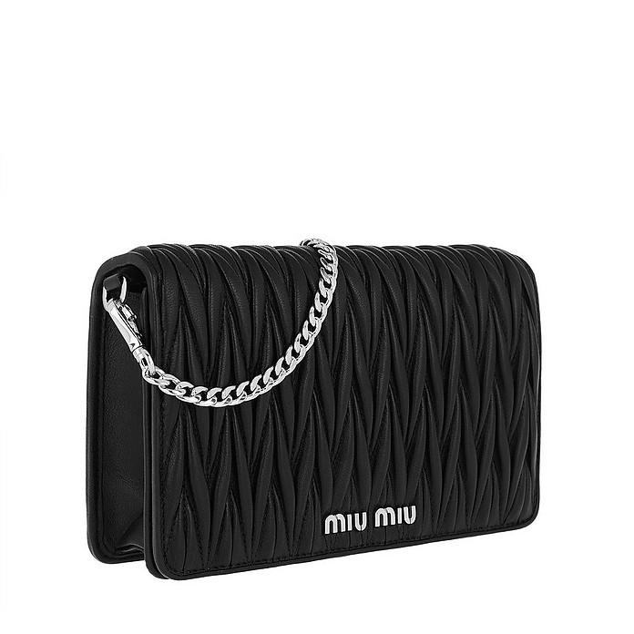 design senza tempo 33631 c94e7 Borsa Portafoglio Matelassé Crossbody Leather Black