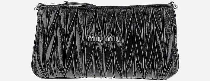 Black Shiny Quilted Leather Clutch - Miu Miu