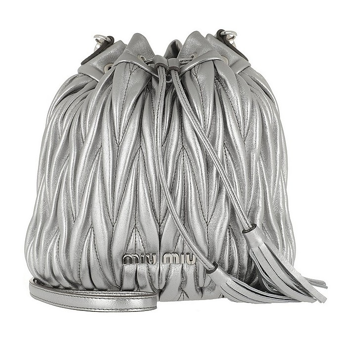 Miu Miu Matelassé Mini Bucket Bag Cromo at FORZIERI 50432cb1bf13