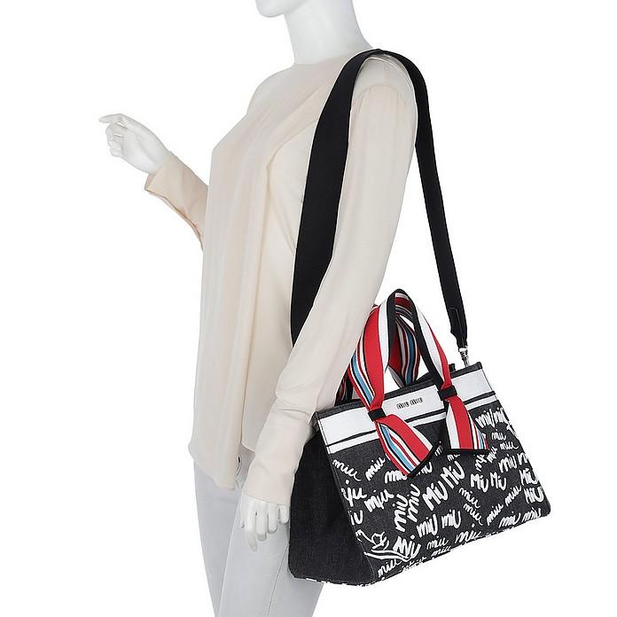Miu Miu Denim Logo Shopping Bag Nero Bianco at FORZIERI ed6434fcb3807