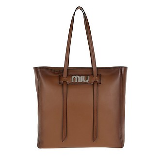 Grace Lux Soft Leather Shopping Bag Cognac - Miu Miu ccd7b473b659b